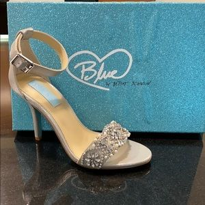 Never worn Blue by  Betsy Johnson silver sandals